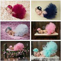 Wholesale Sweet Newborn Baby Tutu With Matching Vintage Style Flower Headband Stunning Newborn Photo Props Tutu Skirt