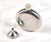 Wholesale 5 oc Mirror Smooth Men Portable Stainless Steel Portable Round Flagon Small Funnel Hip Flasks LLFA4622F