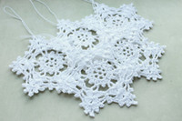 Wholesale White Handmade crochet Snowflakes Winter Christmas Decoration Lace Snowflakes Winter Wedding Shabby Chic Handmade by Tree ornaments