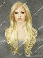 blonde lace front wigs - NEW_26 quot Extra Long Ligt Blonde Tip Purple Wavy Lace Front Heat Safe Synthetic Hair Wig