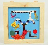Precio de Cajas de madera relojes-el envío al por mayor-Libre 5 in1 grande alrededor de la estructura del grano del bebé Ploungboys múltiples funciones de madera caja de reloj de la Educación