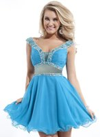 Cheap 2015 New Design Cheap Gradutaion Dress Sexy Black Red Blue Beads Tulle A-line Cocktail Dress Prom Dress