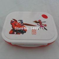 square dinnerware - 5pcs Baby Boys Cartoon Portable Dinnerware Children s Big Hero Tableware Kids Baymax Square Lunch Box
