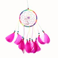 Wholesale LED Light Dream Catcher feathers wall hanging decoration ornament feather K5BO