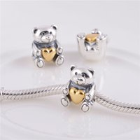 animal charms - Pandora Silver k Gold Plated Lovely Bear Charm Animal Beads Fits European Diy Charms Blacelets LW282