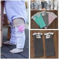 Wholesale Baby Warm Leggings Boot Cuffs for Children Kids Legwarmers with Lace and Button Knitting Wool Short Legs Boot Cuffs high quality in stock