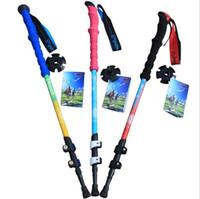 alloy aluminium grip - High Quality Professional section Aluminium Telescopic Alpenstock Walking Stick Adjustable Hiking Alpenstock Aluminum Alloy Colors