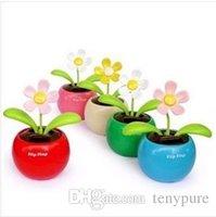 solar dancing toys - Home Car Flowerpot Solar Power Flip Flap Flower Plant Auto Swing Dance Toy Drop shipping