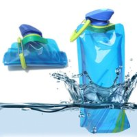 Wholesale Hot Sale Blue Environmental Cartoon Foldable Water Bottle Bag Portable Kettle Outdoor Sports Travel Bottles CT102