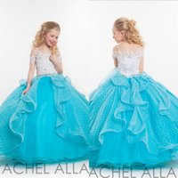 glitter ribbon - Ball Gown Pageant gowns for teens Spaghetti Strap Lace and Sparkling Crystals floor length lovely Glitter Flower Girls Dresses