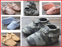 camouflage wholesale - 2015 Baby camouflage moccasins soft sole camo moccs leather prewalker booties toddlers babies infant fringe pu leather moccasin maccasions