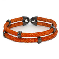 Wholesale Factory stylish stingray leather bracelets with metal clasp jewelry bracelet accessories
