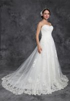 Wholesale Gorgeous Wedding Dress Sweetheart A Line Lace New Style White Tulle Long Tail Lace up Applique Sleeveless Plus Size Wedding Dresses