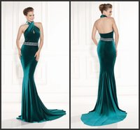 Wholesale 2015 Custom Made Halter Green Mermaid tarik Ediz Long Formal Evening Dresses With Exquisite Bead Sash Sexy Party Prom Dress Gowns Backless