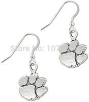 Wholesale 50pairs a zinc alloy antique silver plated clemson tigers lovely paw earrings
