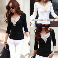 womens tops - NEW Fashion Womens Slim Casual long Sleeve Shirt Tops lady V Neck Blouse