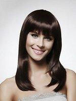 "Cheap real hair Straight Neat bang Hair Brazilian Remy Virgin Cheap Front Lace Human Hair Wig Glueless120% Density Good Quality 8""-26"""