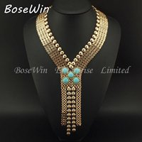 ancient egypt fashion - New Ancient Egypt Style Statement Jewelry Fashion Chunky Chain Welding Turquoise Long Necklaces Women Evening Dress CE2189