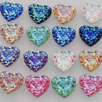 Wholesale 40PCS Resin Heart Flatback Scrapbooking for Phone Wedding DIY Craft AB Color