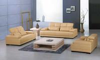 sofa set - Yellow leather sofa New Design Classic Large Size Modern Leather sectional sofa set L9054
