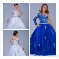 amazing performances - Amazing Crystal One Shoulder Pageant Girl Dresses Performance Long Sleeve Shiny Beaded Sash A line Organza Flower Girls Gowns
