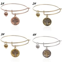 Wholesale Fashion Charms Bracelet Alex and Ani Expandable Wire Bangles Tree Of Life Pendant Bracelet Metal Vintage Wristband For Women