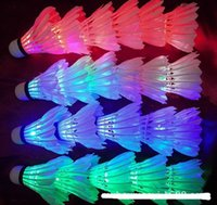 Wholesale 4pcs new LED Badminton Outdoor sports luminous badminton Material goose duck feather SMD lamps