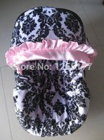 baby canopy - baby car seat cover damask print pink satin ruffle cotton with infant with canopy