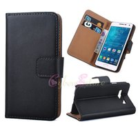 id cards - For Galaxy A3 Genuine Real Leather Wallet Cell Phone Cases with Bag Credit ID Card Slots Holder Money Pocket Flip Stand for Samsung A3000