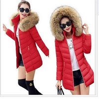 Wholesale New Women Winter Coat Fashion raccoon Fur Collar Warm winter jacket Woman Thicken Parkas Down Jacket For