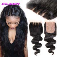 Cheap 6A Brazilian Silk Base Closure Body Wave Human Hair 4x4 Silk Closure Bleached Knot Free Part Silk Base Closure Top Lace