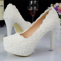 Wholesale Chaep Purity White Lace Wedding Shoes With Pearls Women High Heels Party Shoes High Quality Bridal Shoes LY70