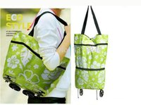 Cheap Wholesale-Oxford cloth eco friendly foldable shopping trolley bags folding shopping carts with wheels for travel