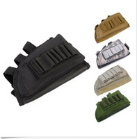 Men airsoft pads - Tactical Military Pouch Holder w Cheek Leather Pad magazine Molle bag for hunting airsoft Rifle gun Stock Ammo
