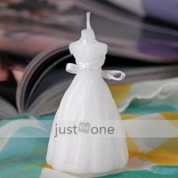 Wholesale Wedding Favours Party Decoration Bridal Gown Dress Shape Design Candle White