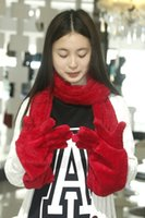 Wholesale New winter adult scarves glove two piece for lady Double Coral fleece thickening warm scarf glove fashion Assessories in cold day hot sell