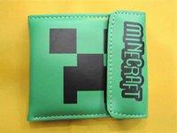 Wholesale Minecraft Creeper Wallet PU Leather Minecraft Purse Card Changes Bags Fashion cm Unisex Green Cartoon Wallets Good Quality Children