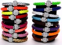 Wholesale Mix Color New Shamballa PU Leather Bracelet CZ Disco Crystal Magnetic Clasp Bracelet