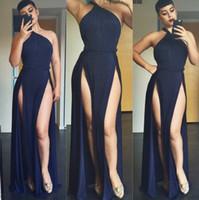 Casual Dresses plus size club dresses - Sexy Split woman dresses models floor length maix dress O Neck sleeveless backless bodycon party night club plus size summer dresses