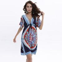 b skirt - Fall Printing In The Long Skirt Sexy V Collar Beach Dress Europe Brazil Sexy Dress Code B