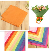 Wholesale 62 CM Floral Wrapping Paper Flower Gift Packing Materials Tissue Crepe Rose Flower Origami Paper Gift Wrapper Multicolor Hot