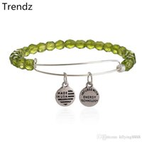 beaded chain sizes - New Vintage Expandable Alex Ani Green Bead Bracelet Silver Charm Bangle For Women Adjustable Size AA201523