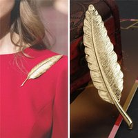 american journals - Factory direct European Journal Star temperament long leaves large high grade retro Feather Brooch accessories
