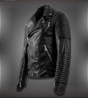 Cheap 2015 New Men'S Winter Jacket Lapel Machine Wagon Alloy Skull Oblique Zipper Short Jacket High Quality Casual Leather Jacket