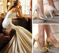 Wholesale White Lace Pearl Bridal Shoes Dress Wedding Evening Party Prom Shoes High Heels Pumps Peep Toes Size Gold Red White