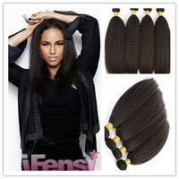 yaki weave hair - Grade A unprocessed Brazilian virgin Kinky Straight Weave light coarse yaki human hair italian yaki straight hair