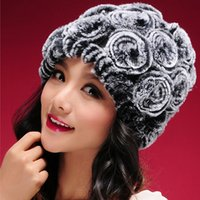 Wholesale New Real knitted REX rabbit fur hat thick wool lining Beanie women hat winter caps fur flower headgear fur skullies hats