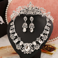 jewelry display set - Luxury Crystal Wedding Party Jewelry Sets Bridal Headpiece Earrings Necklace Jewelry Display Free Ship Wedding Dress Jewelry Sets