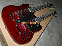 Cheap 2015 NEW Custom Shop 1275 Red Double Neck Electric Guitar 6 12 strings Guitar High Quality Free Shipping