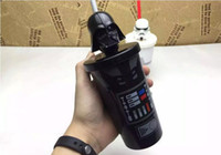 Wholesale Star Wars Stormtrooper Helmet Mug set with lip straw Flexible Cups Coffee Cup Mug Tea Travelling Mugs Tea Cups Wine Cups DHL Free